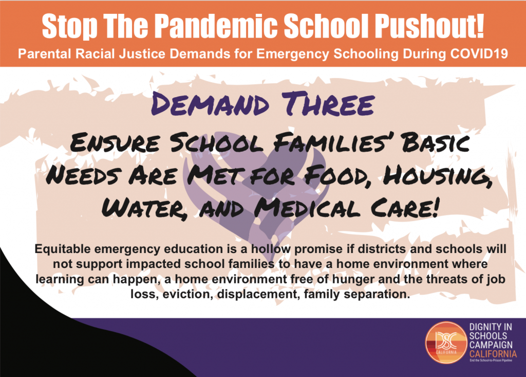 Demand #3: Ensure School Families' Basic Needs Are Met for Food, Housing, Water, Medical Care